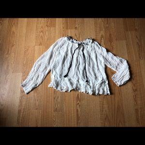 Line + dot white blouse sz:L peplum casual work